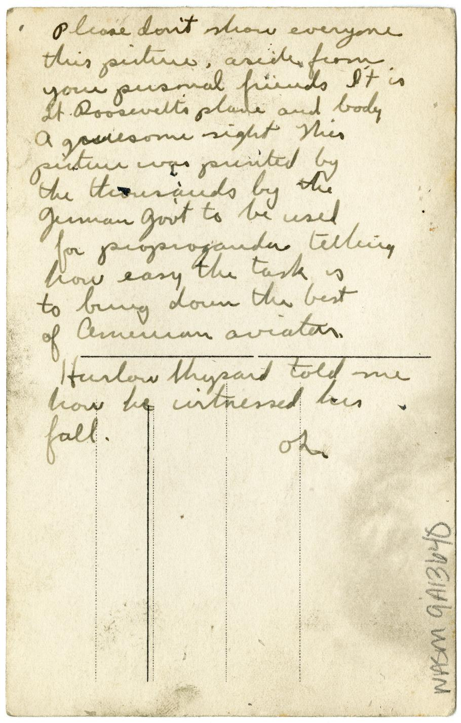 Text on Back of Quentin Roosevelt Photo