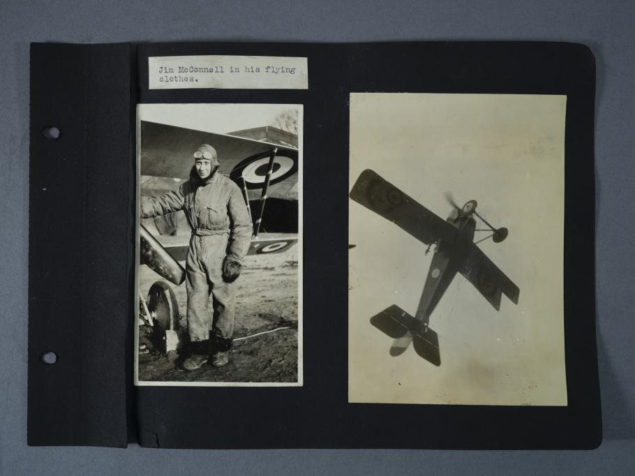 Scrapbook page, portrait on left Nieuport airplane on right