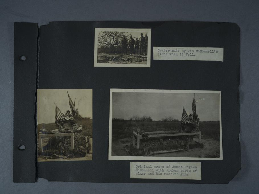 Three photographs of a crater and a grave