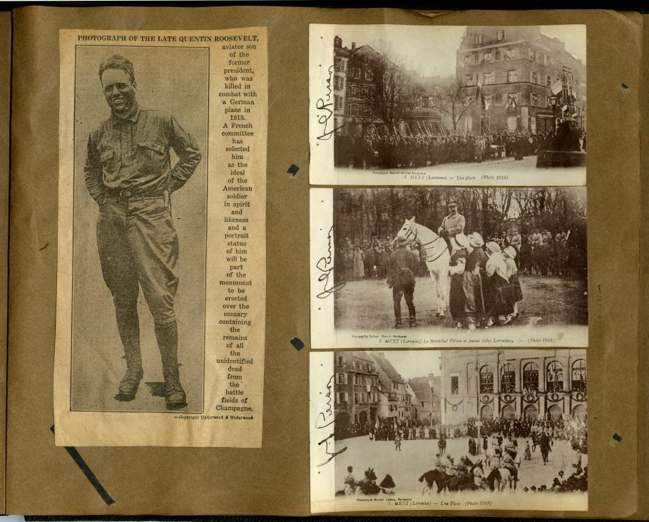 Scrapbook page: photo of Roosevelt on left, three photos of scenery on the right
