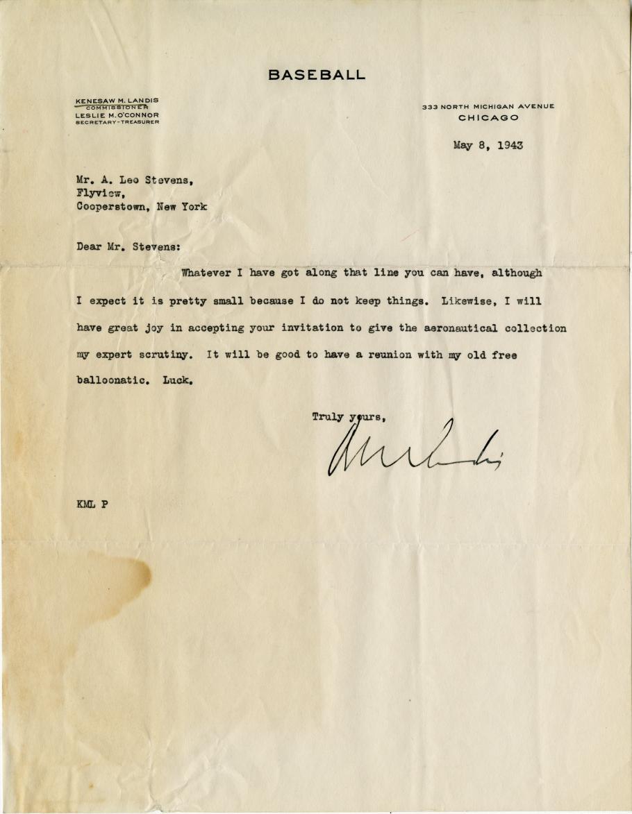Letter on Baseball Letterhead