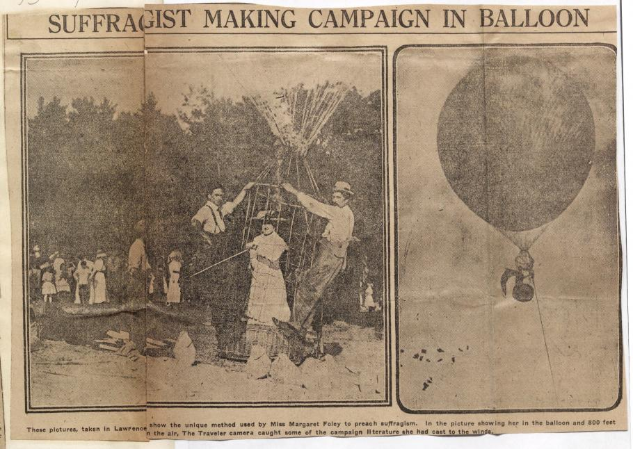 """Newspaper clipping Headline: """"SUFFRAGIST MAKING CAMPAIGN IN BALLOON"""" photo on left features three people in the basket of balloon with crowd in back; photo on right balloon in sky paper floating through the air below"""