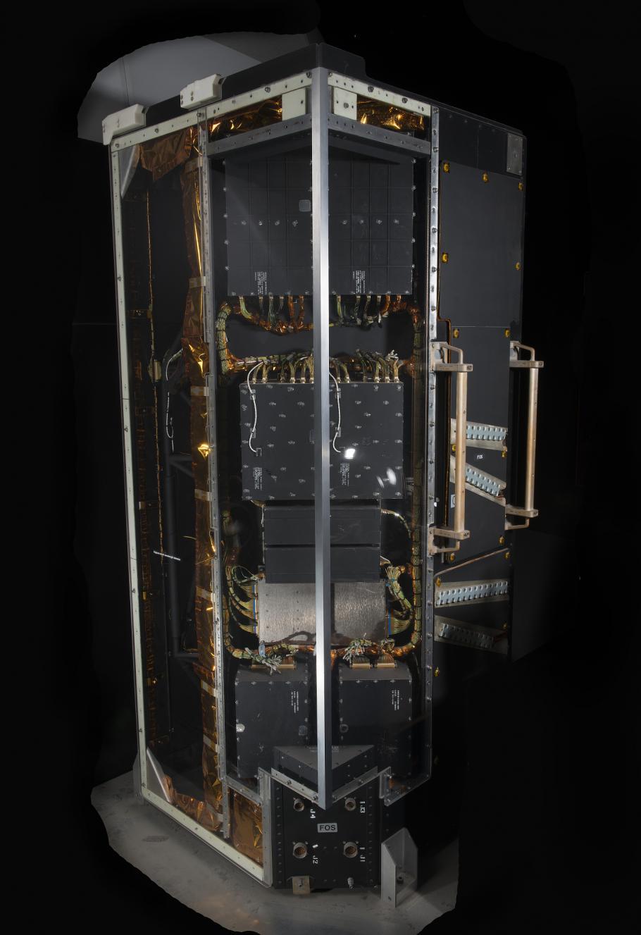 instrument set against black background.