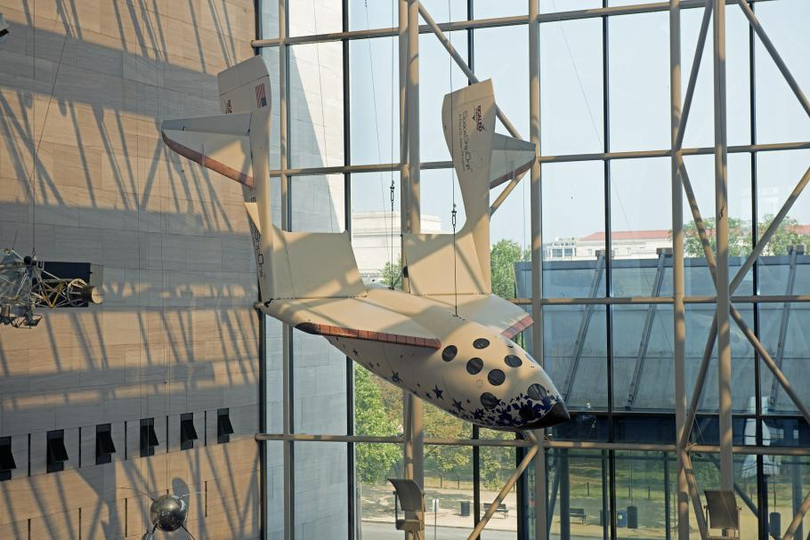 View of SpaceShipOne hanging in its new location in the Boeing Milestones of Flight Hall