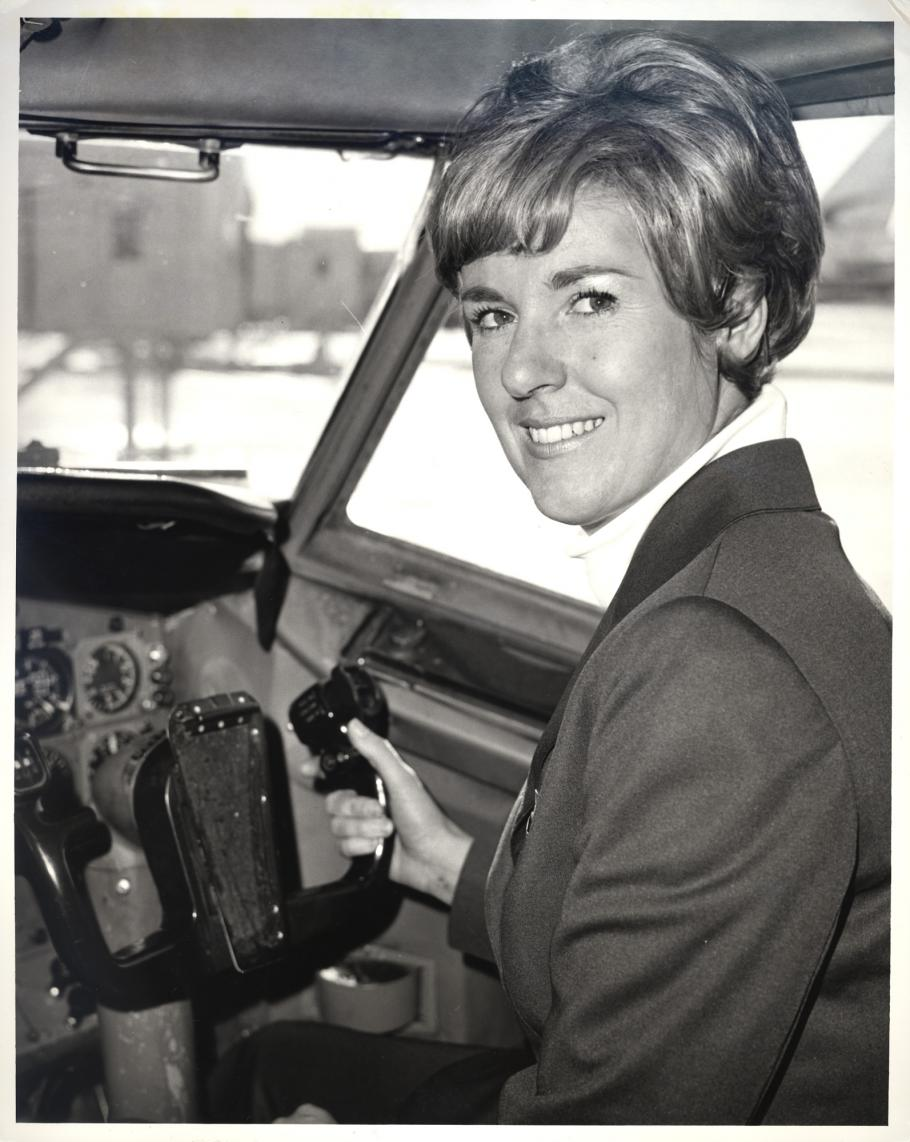 Woman in cockpit