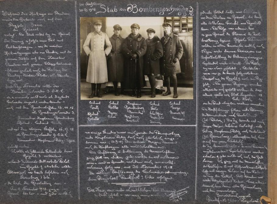 Scrapbook Page with Photo of German Soldiers and German Writing