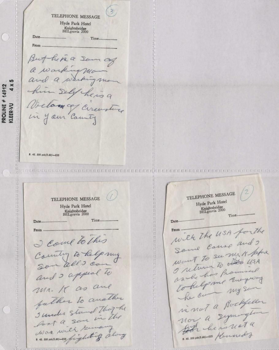 Notes by Oliver Powers on three pieces of Hotel Notepaper