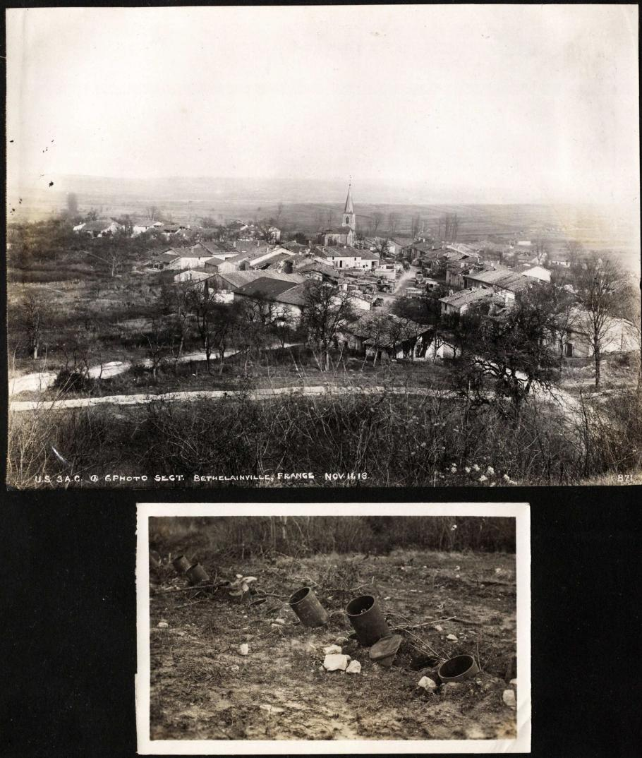 Aerial view of city (top); embedded mortars (bottom)