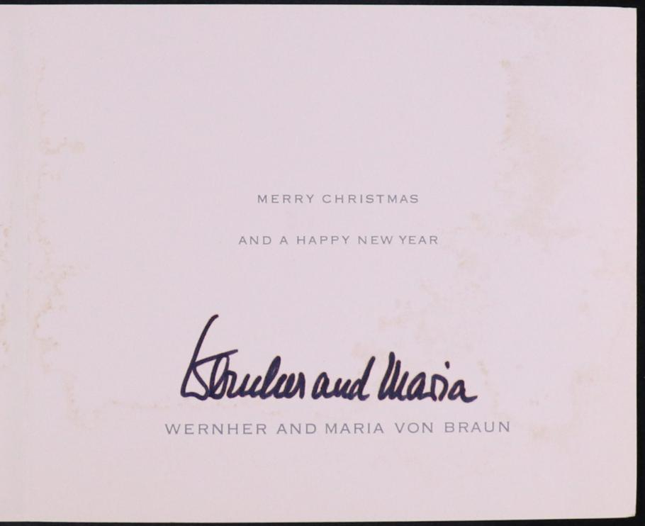 "White Card - Text: ""Merry Christmas and a Happy New Year. Wernher and Maria Von Braun"" with signature"