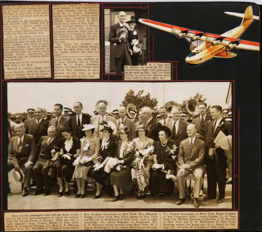 Scrapbook page with news clippings and photos