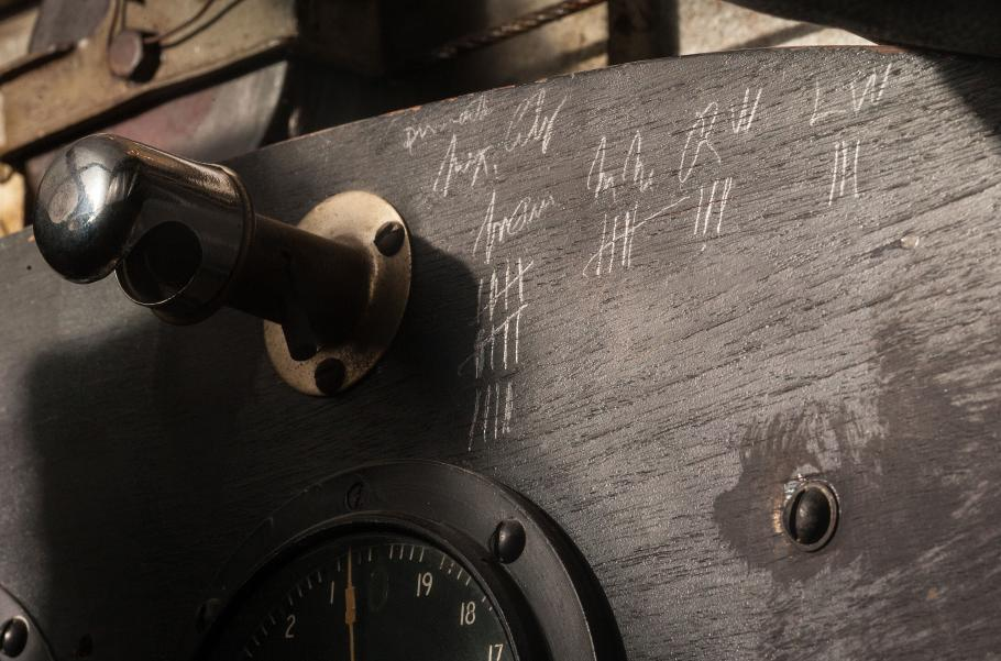 Pencil markings in the cockpit of the Spirit of St. Louis