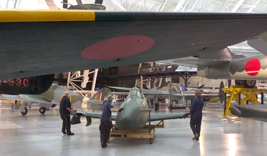Museum preservation and restoration specialists at the Steven Udvar Hazy center