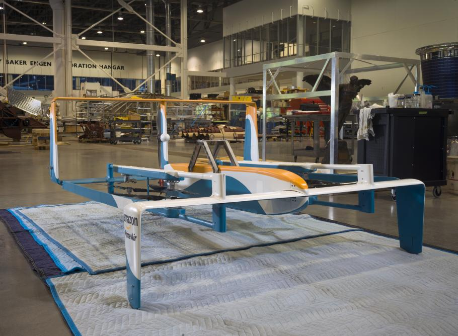 The Amazon Hybrid Delivery Drone in restoration at the Museum's Steven F. Udvar-Hazy Center.