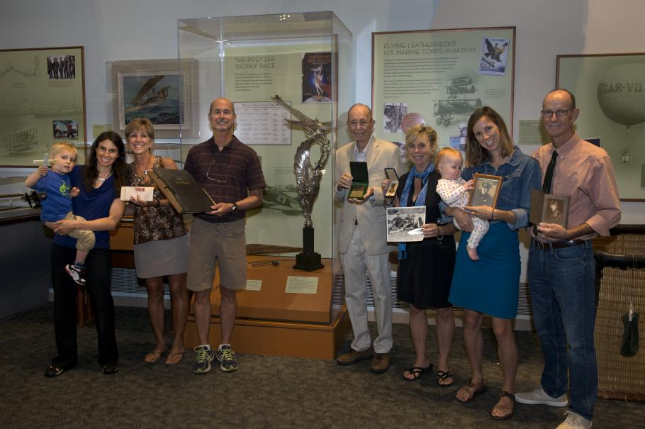 The family of Cyrus Bettis visited the Barron Hilton Pioneers of Flight gallery