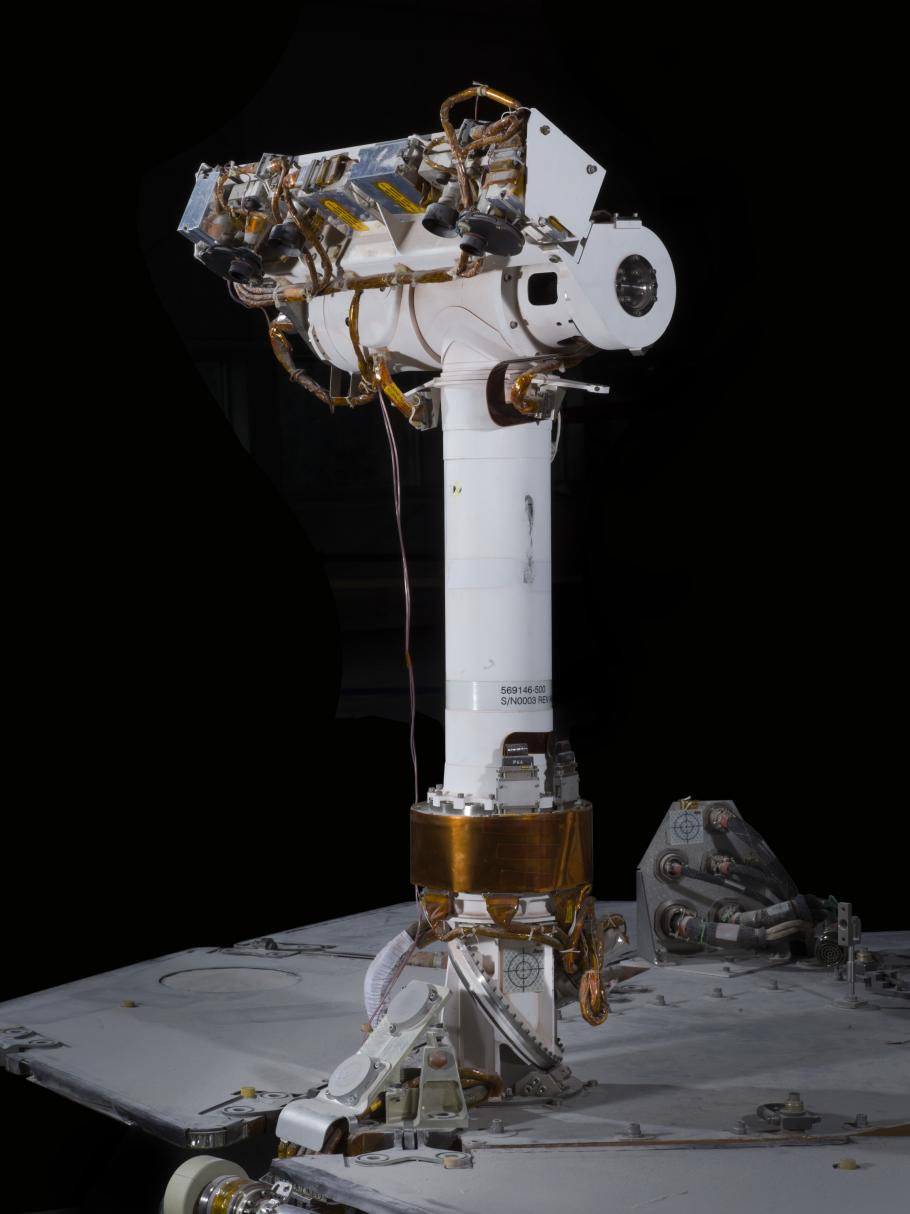 The T-shaped mast, positioned up-front, carries the rover's panoramic camera system, as well as smaller navigational cameras.