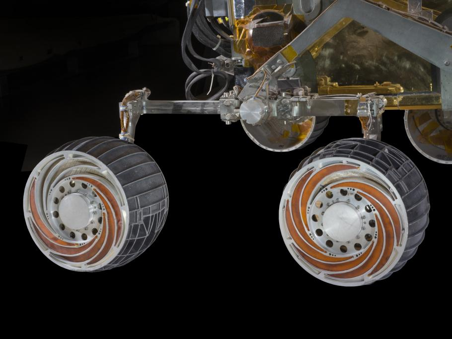 The MER SSTB wheels and chassis comprise a variation of the rocker-bogie mobility system.