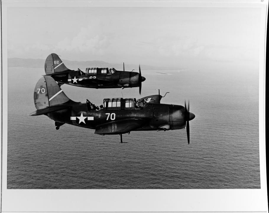 SB2C-1Cs from USS Yorktown circa 1944 (with antenna for the ASB radar)