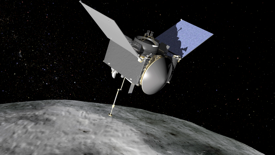Illustration of the OSIRIS-REx spacecraft orbiting the asteroid Bennu.