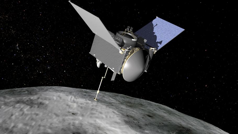 Illustration of the OSIRIS-REx spacecraft orbiting the asteroid Bennu.