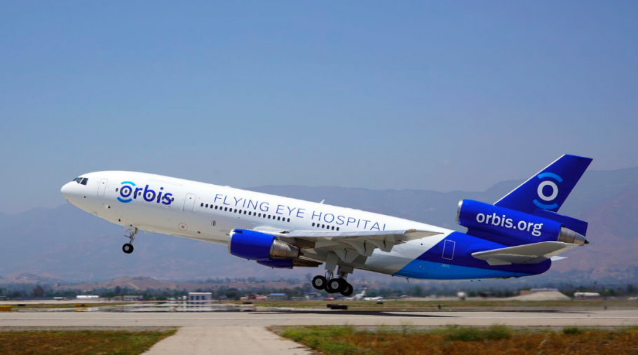 A photo of the Orbis Flying Eye Hospital, 2016.