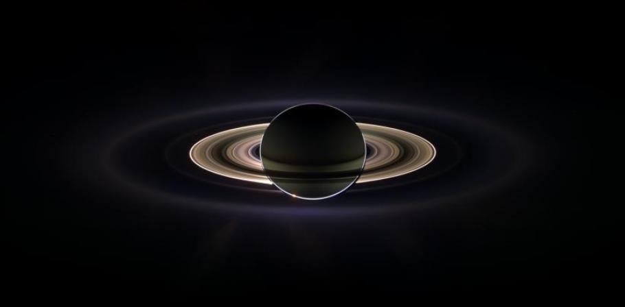 A photo taken by Cassini while it was floating through Saturn's shadow.