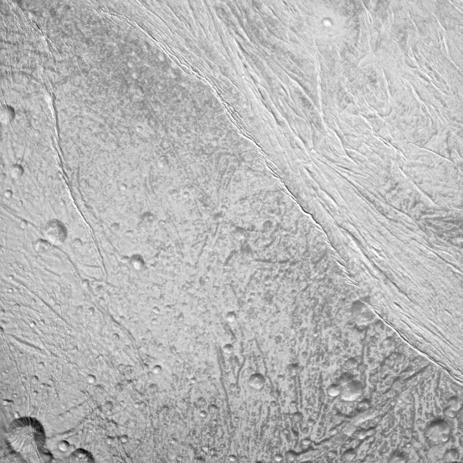 A photo taken by NASA's Cassini spacecraft of the surface of Enceladus.