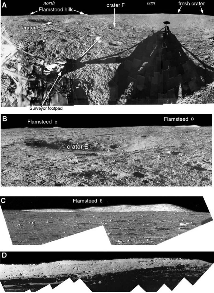 Panoramas captured by surveyor 1 on the moon