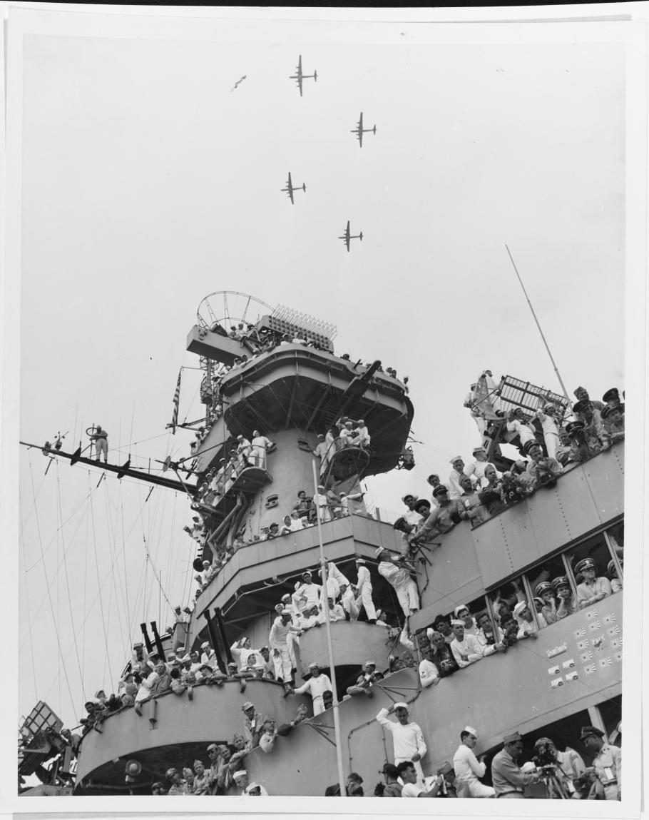 B-29 Superfortresses fly over the USS Missouri