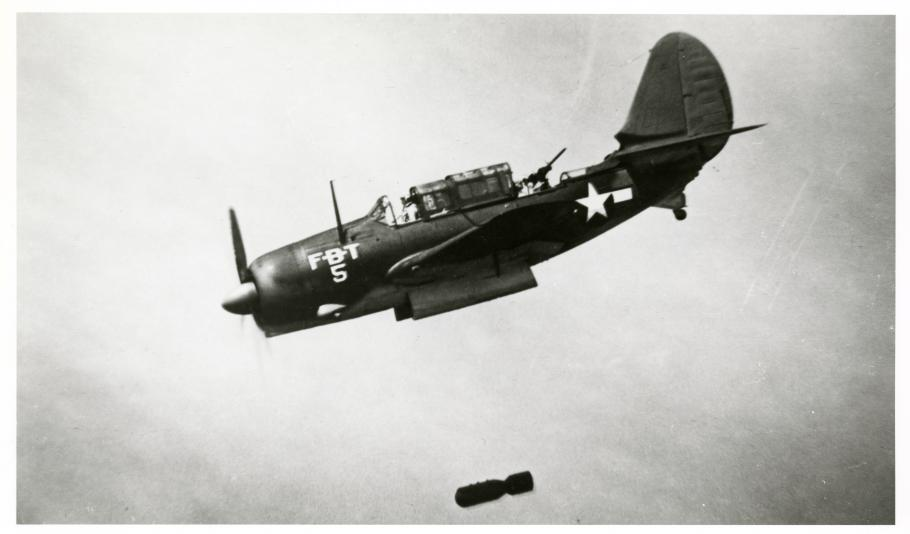 """SB2C-5 in a training unit circa 1945 shows off the bomb bay doors and the retracted """"turtleback"""""""