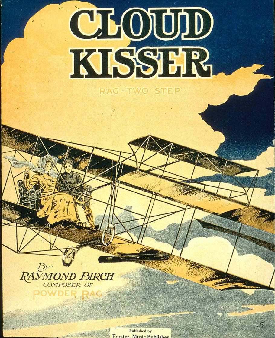 Sheet music cover featuring a biplane.