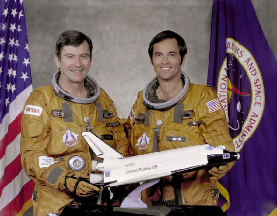 Astronauts John W. Young (left), commander, and Robert L. Crippen, pilot, part of the first STS-1 program.