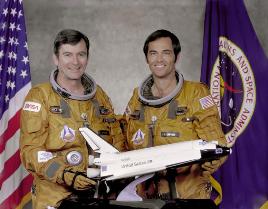 Astronauts John W. Young (left), commander, and Robert L. Crippen, pilot, part of the first STS-1 program.