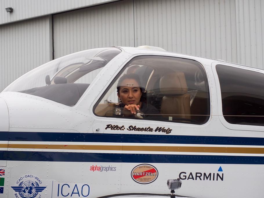 Shaesta Waiz in her Beechcraft Bonanza aircraft.