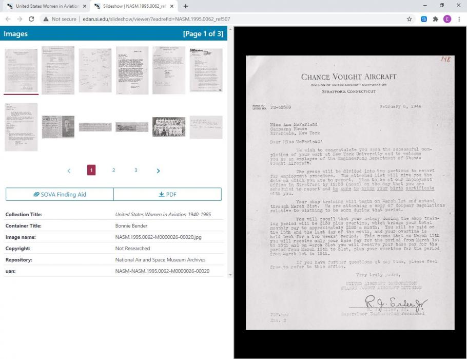 Screen capture of collection slideshow. Upper left corner shows thumbnails of multiple documents. Bottom left has metadata. Right side of screen is a larger version of an individual document.