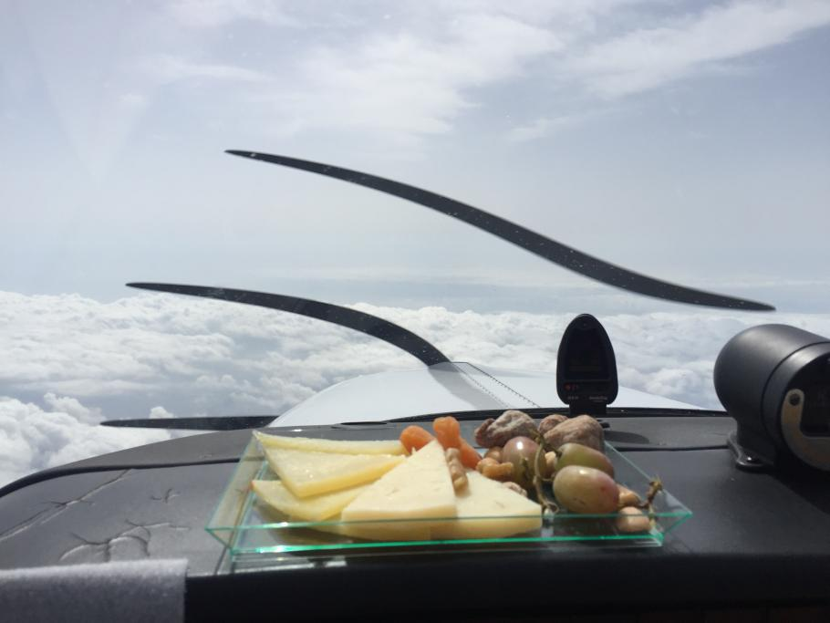 Shaesta Waiz's snack plate, showed in the cockpit of an aircraft.