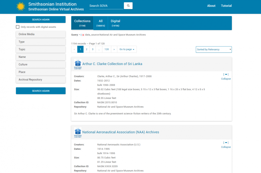 A screenshot of SOVA search engine.