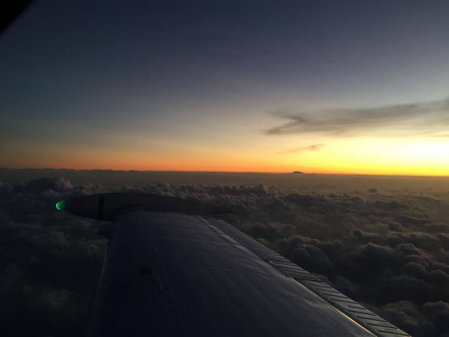 Sunset, as seen from 9,000 feet above Indonesia.