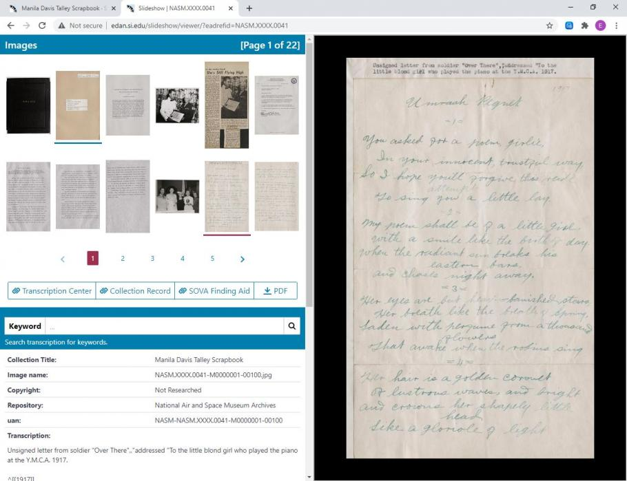 Screen capture of Smithsonian Online Virtual Archives slideshow page. Thumbnails of documents in upper left corner. Metadata and transcription in lower left corner. Larger document on right hand side.