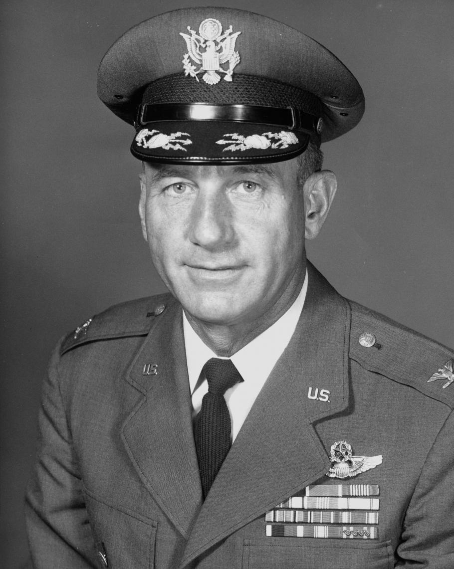 A black and white photo, reflecting its age, of a man in a military uniform.