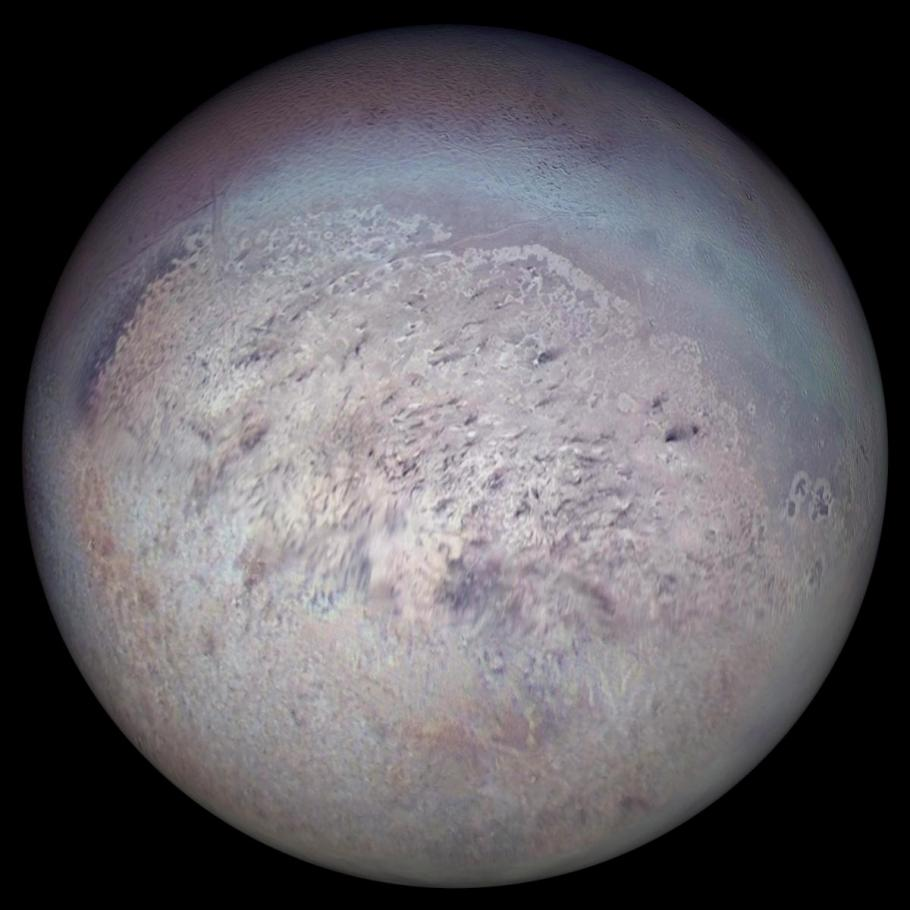 Neptune's largest moon Triton, with the south pole in focus.