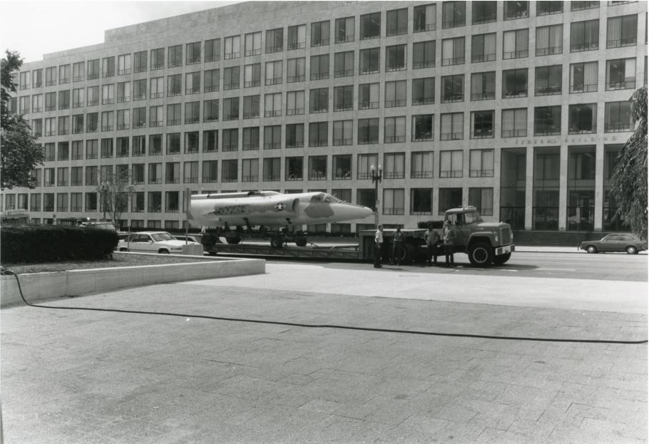 The Lockheed U-2C on a truck enroute to the National Air and Space Museum