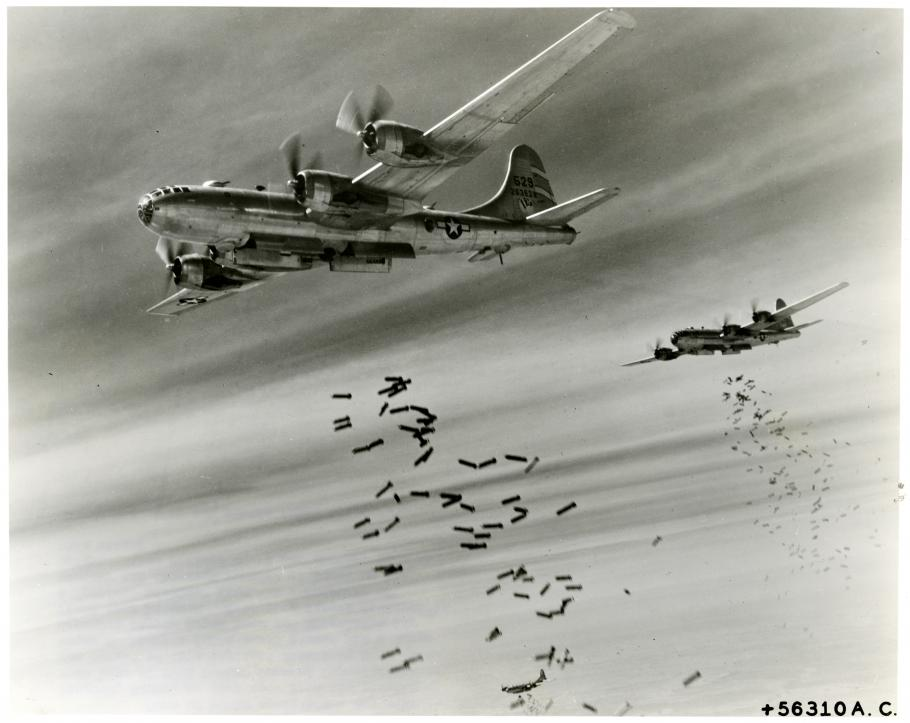 Two aircraft drop bombs