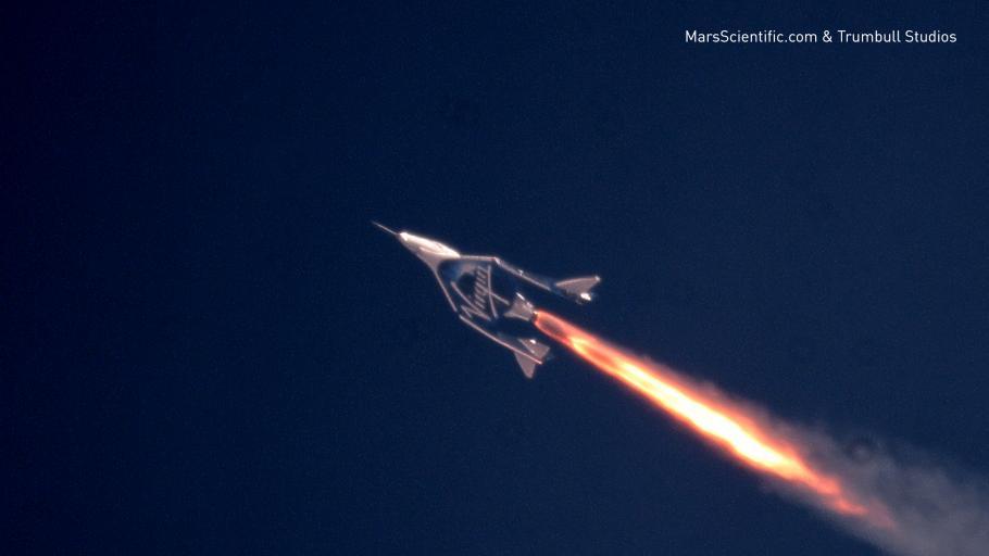 Virgin Galactic's SpaceShipTwo in flight, in December 2018.