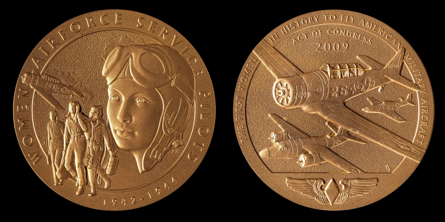 front and back of WASP gold medal