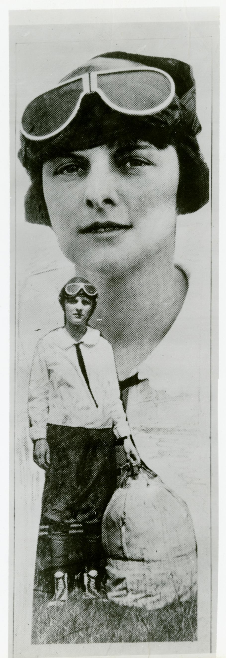 Portrait of a woman superimposed on another photograph of her