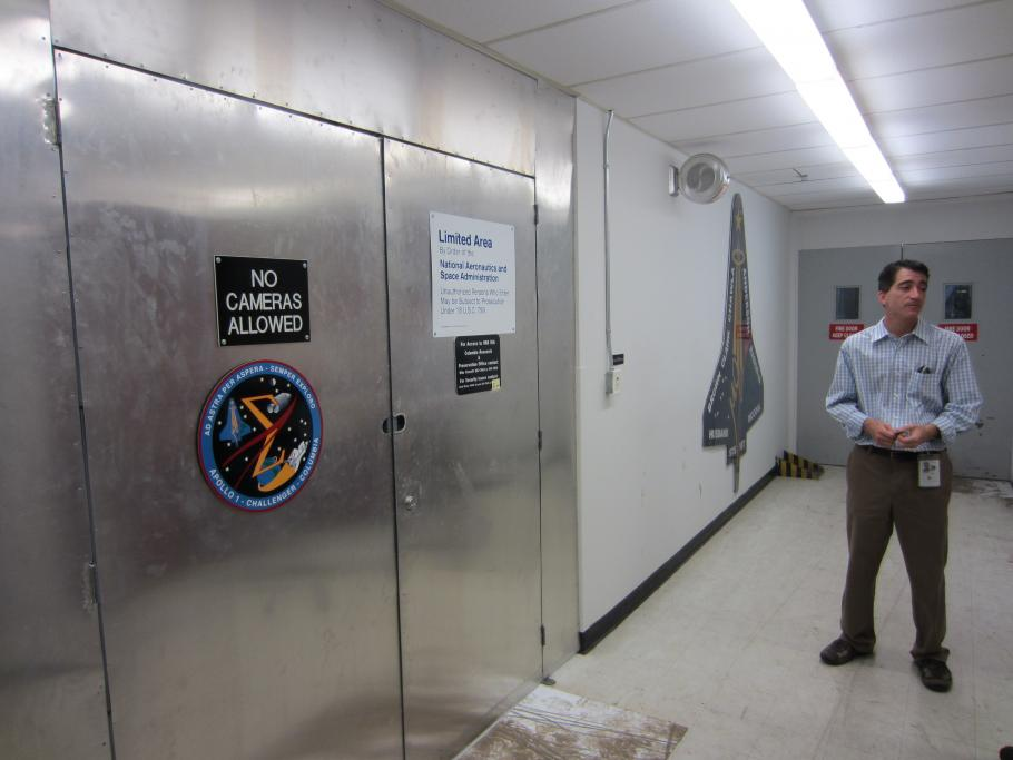Michael Ciannilli of NASA's Columbia Research and Preservation Office, near the room housing Columbia's debris.