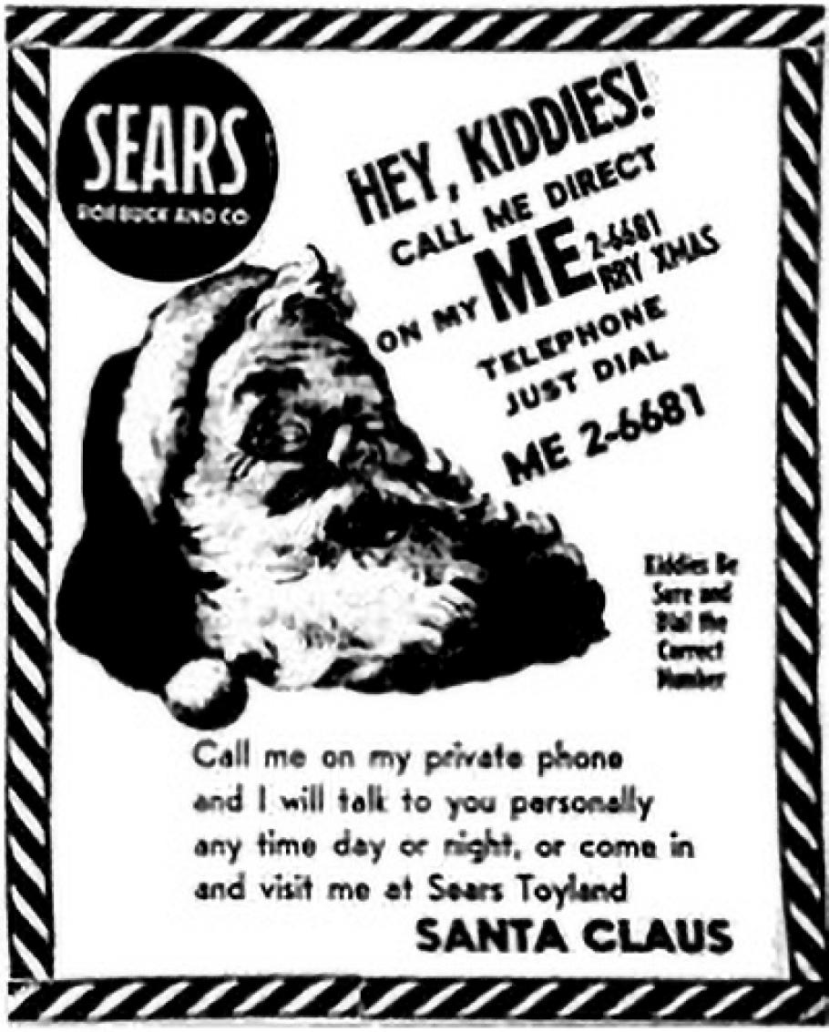 An advertisement inviting kids to call Santa Claus on his personal phone