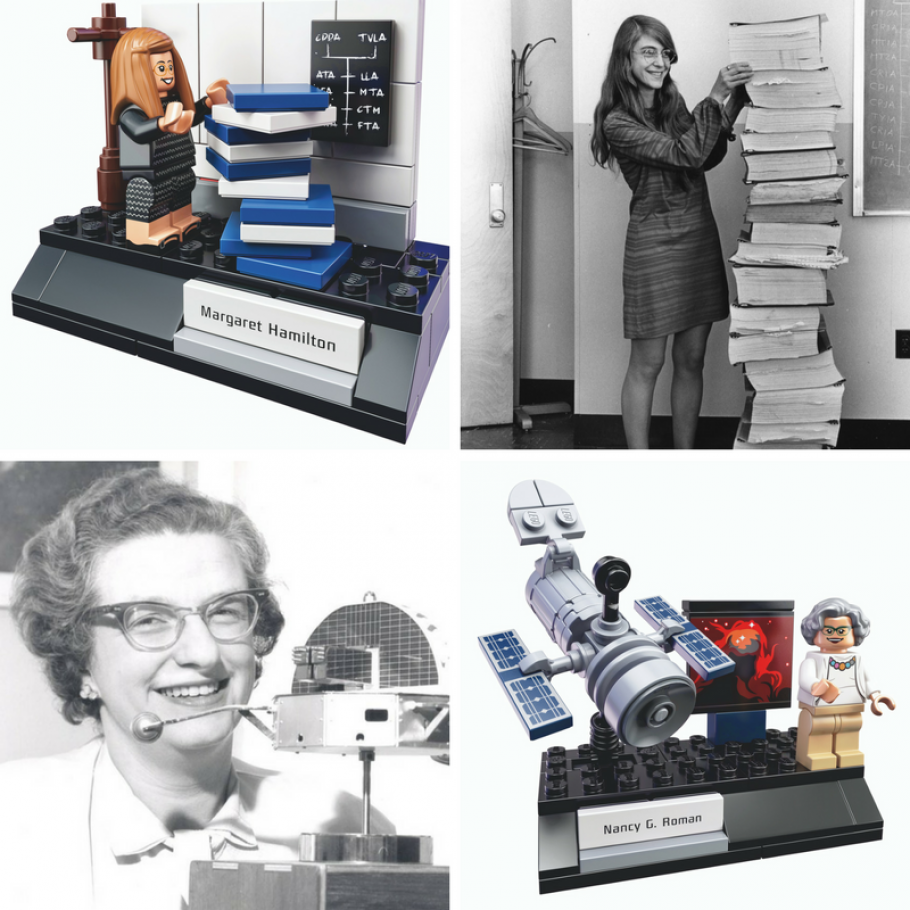 """A photo of scientists Nancy Grace Roman and Margaret Hamilton, featured in the """"Women of NASA"""" LEGO set."""