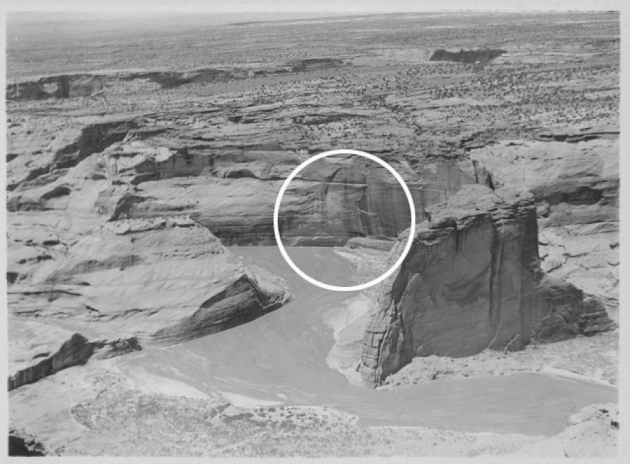 Photograph of recessed cliff dwellings of ancestral Puebloans