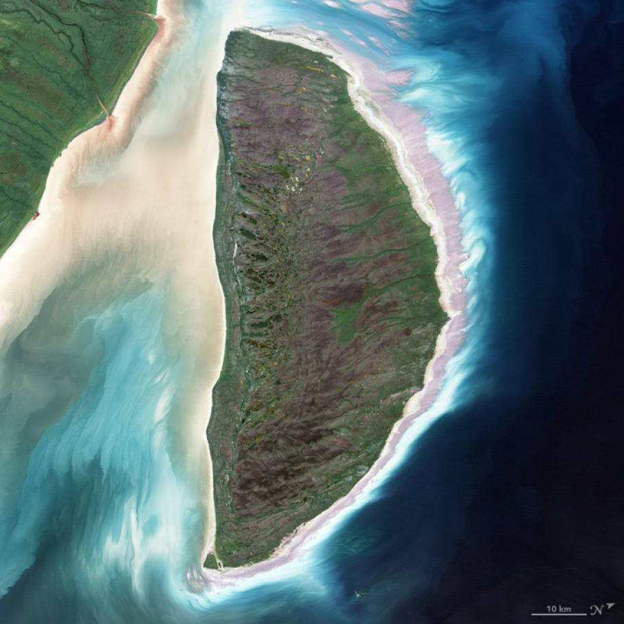"""The Enhanced Thematic Mapper on Landsat 7 acquired this image of Akimiski Island in James Bay on August 9, 2000. The island appears to form the letter """"D."""""""